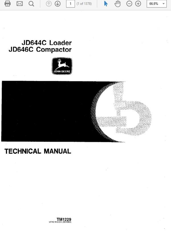 John Deere 644C & 646C Compactor Technical Repair Service Manual TM-1229