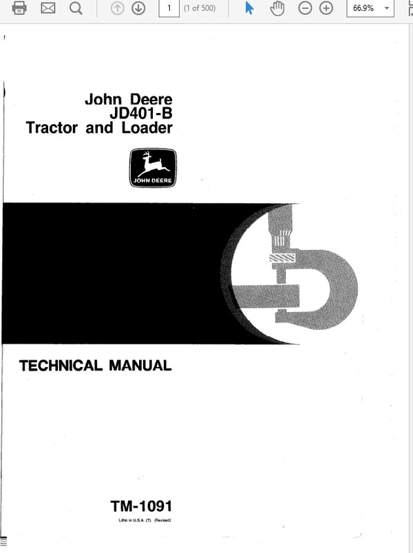 John Deere 401B Tractor and Loader Technical Manual TM-1091