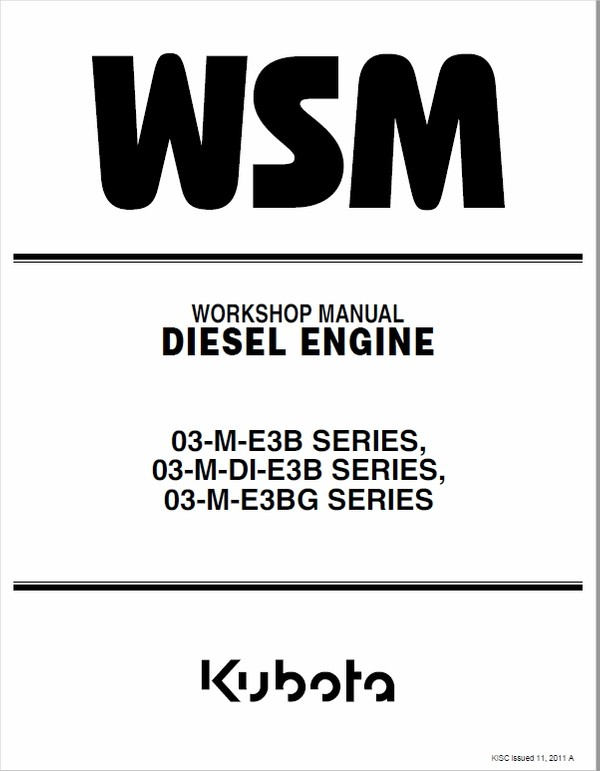 Still WSM 03-M-E3B, 03-M-E3BG Kubota Engine Workshop Repair Manual