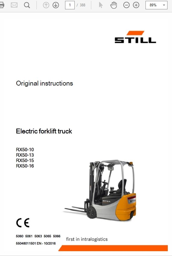 Still Electric Forklift Truck RX50: RX50-10, RX50-13, RX-50-15, RX50-16 Repair Manual