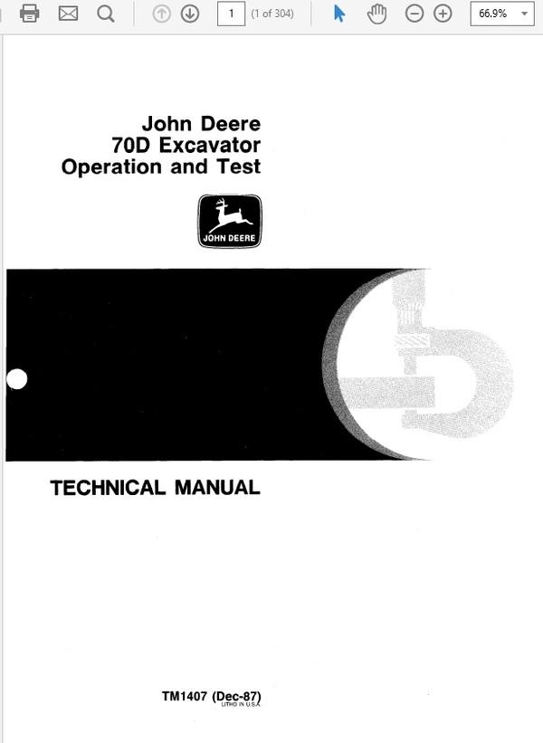 John Deere 70D Excavator Technical Manual TM-1407 & TM-1408