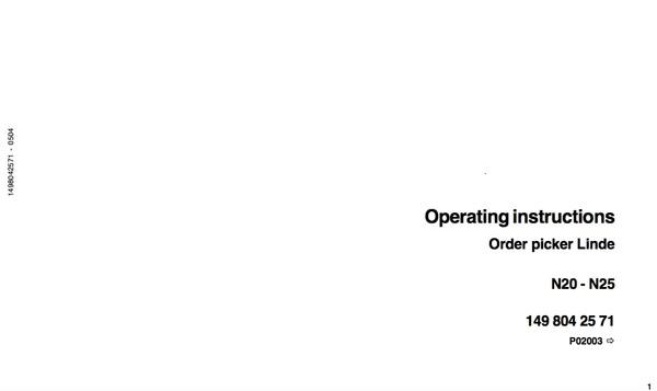 Linde Order Picker Type 149 N20-N25 Training (Workshop) Manual