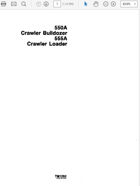 John Deere 550A & 555A Crawler Bulldozer Loader Technical Manual TM-1292