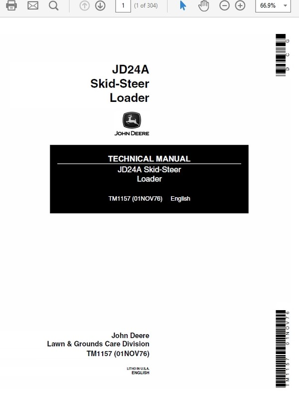 John Deere 24A Skid-Steer Loader Technical Manual TM-1157