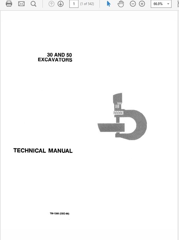 John Deere 30 and 50 Excavator Technical Manual TM-1380