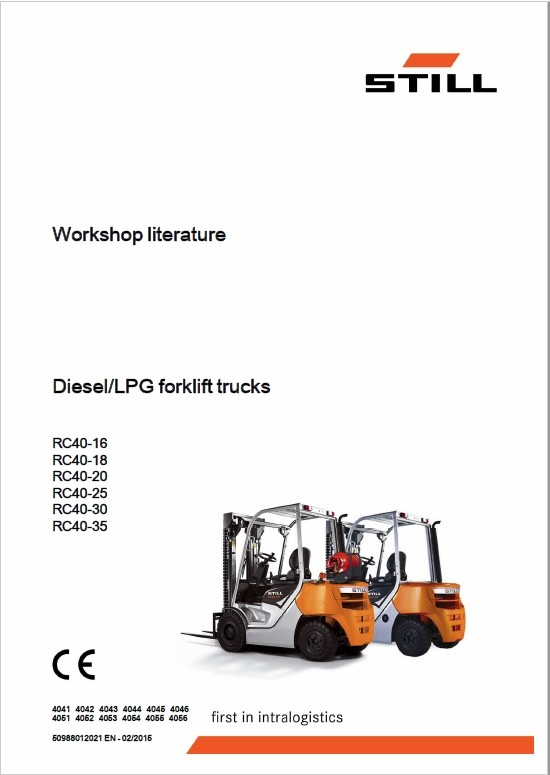 Still Diesel LPG Forklift Trucks RC40: RC40-25, RC40-30, RC40-35 Workshop Manual