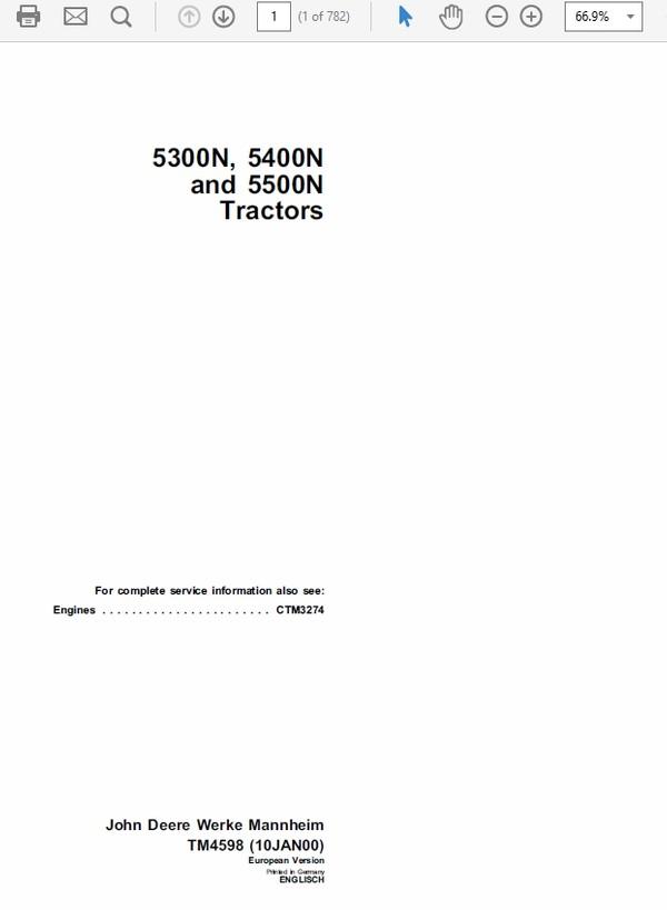 John Deere 5300N, 5400N and 5500N Tractors Technical Manual TM-4598