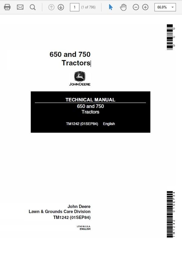John Deere 650 and 750 Tractors Technical Manual TM-1242