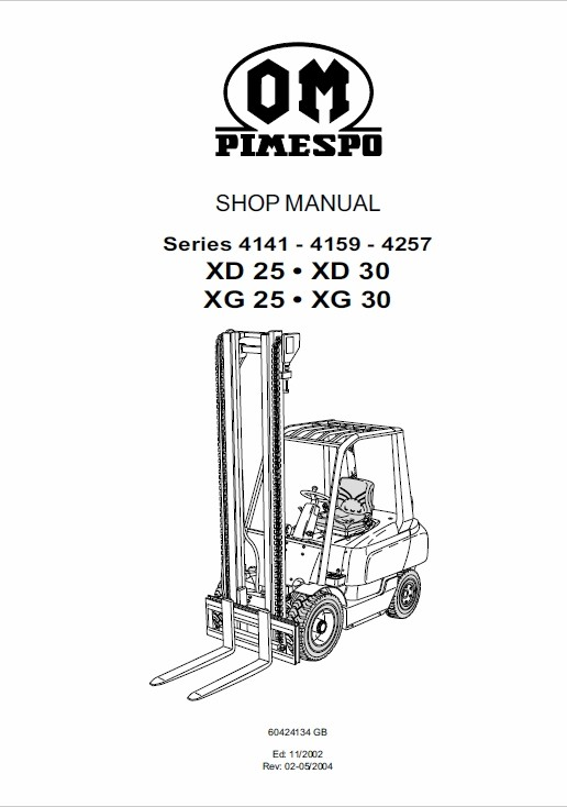 OM Pimespo XG25 and XG30 Forklift Repair Workshop Manu
