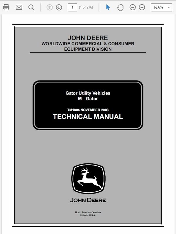 John Deere M-Gator Technical Manual TM-1804