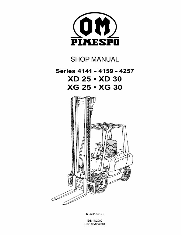 OM Pimespo XD25 and XD30 Forklift Workshop Manual