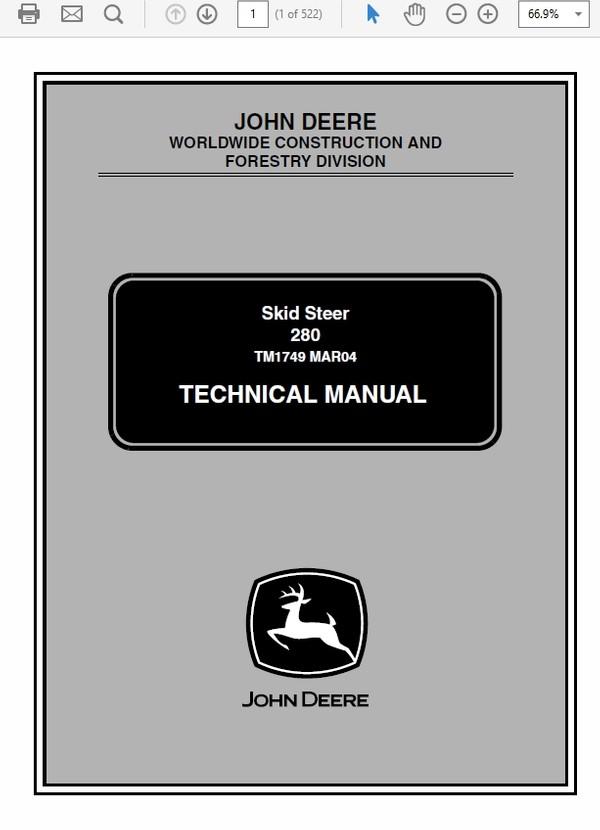 John Deere 280 Skid Steer Loader Technical Manual TM-1749