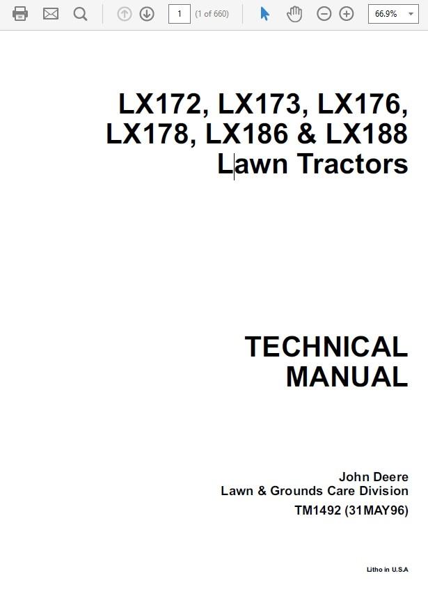 John Deere Lx172 Lx173 Lx176 Lx178 Lx186 Lx188 L The Repair Manual