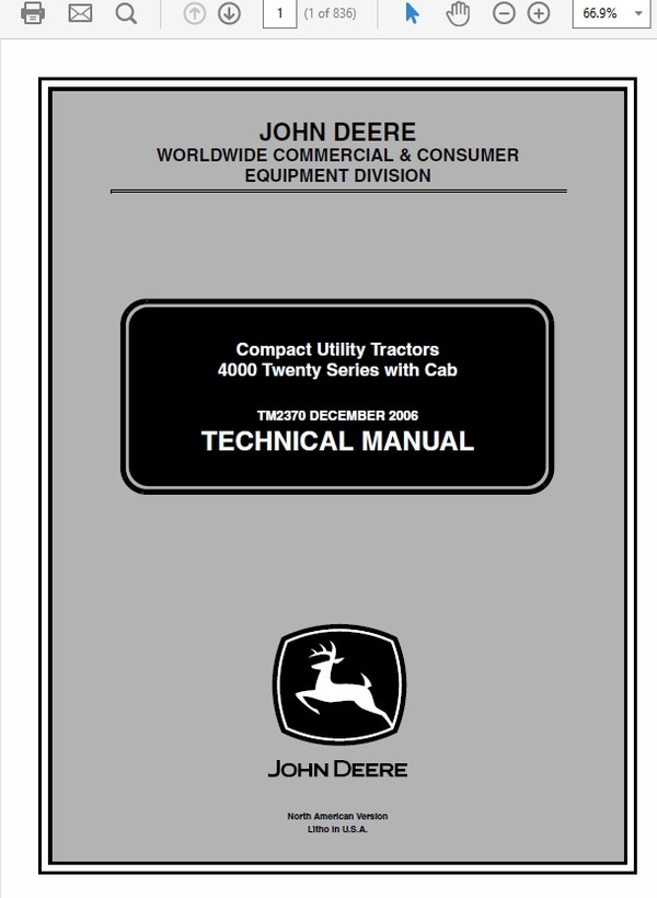 John Deere 4120, 4320, 4520 and 4720 Compact Utility Tractor Technical Manual TM-2370
