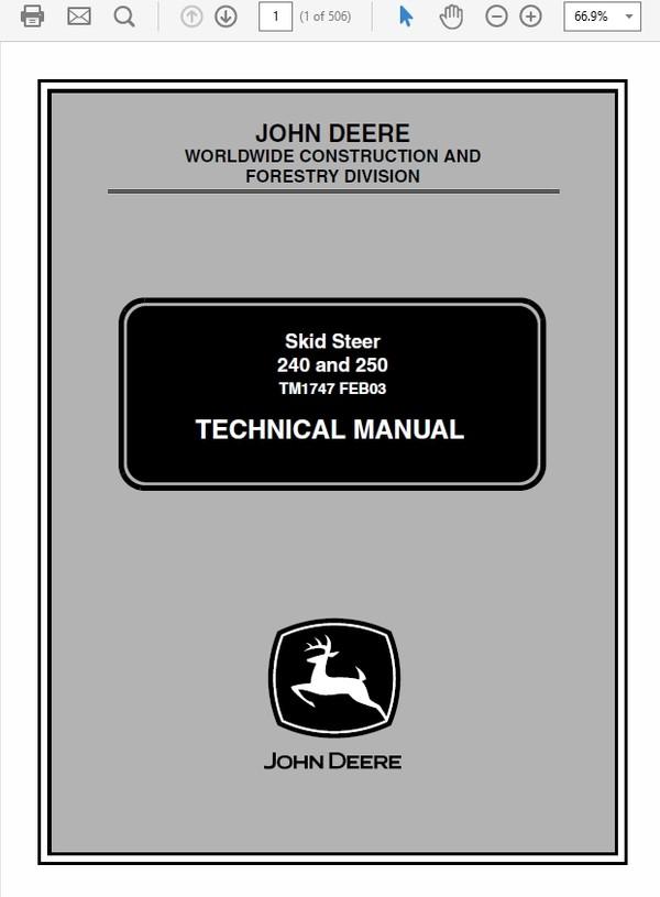 John Deere 240 and 250 Skid Steer Loader Technical Manual TM-1747