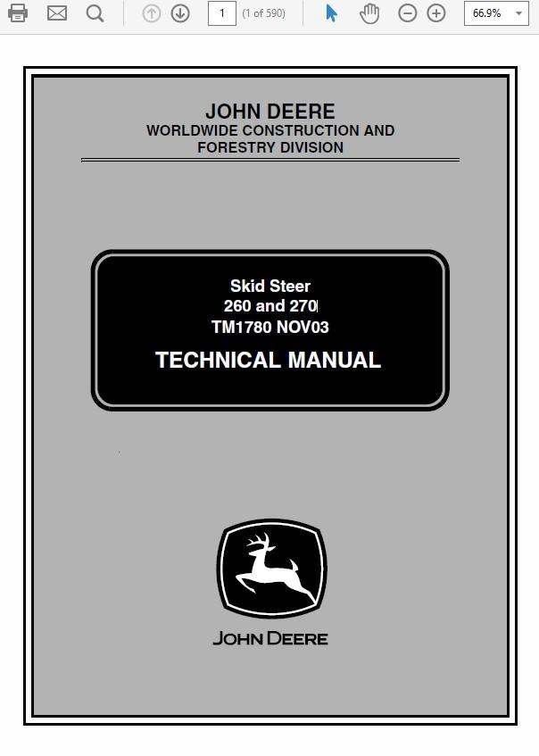 John Deere 260 and 270 Skid Steer Loader Technical Manual TM-1780