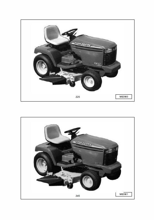 John Deere 325, 335 and 345 Lawn and Garden Tractors Technical Manual  TM-1760