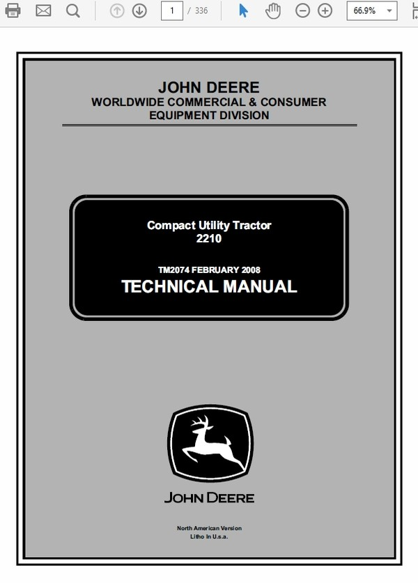 John Deere 2210 Compact Utility Tractors Technical Manual TM-2074