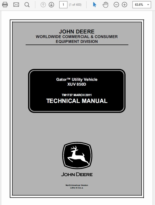 John Deere XUV 850D Gator Utility Vechicle Technical Manual TM-1737