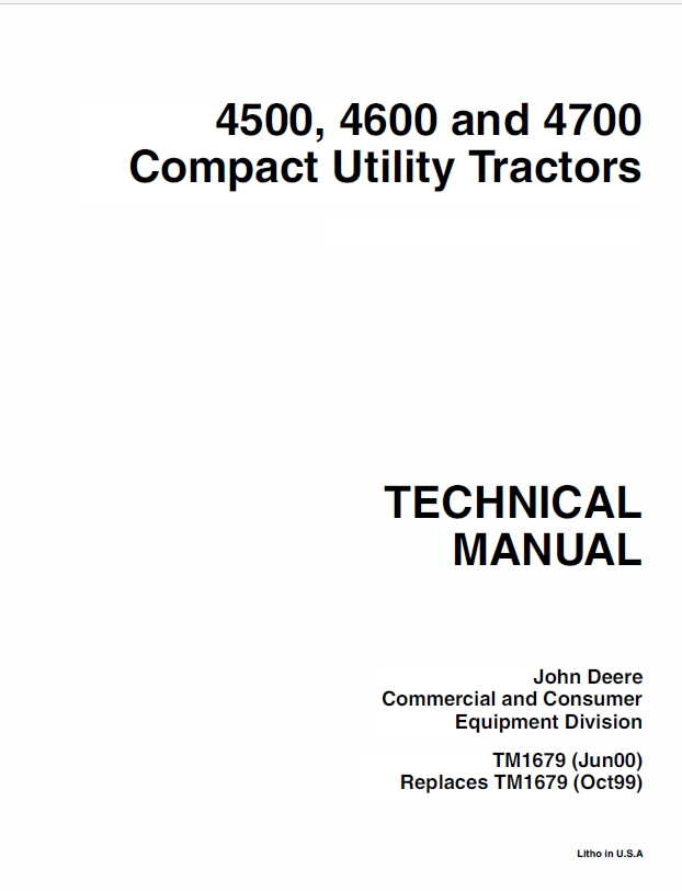 John Deere 4500, 4600 and 4700 Compact Utility Tractos - The Repair ManualSellfy