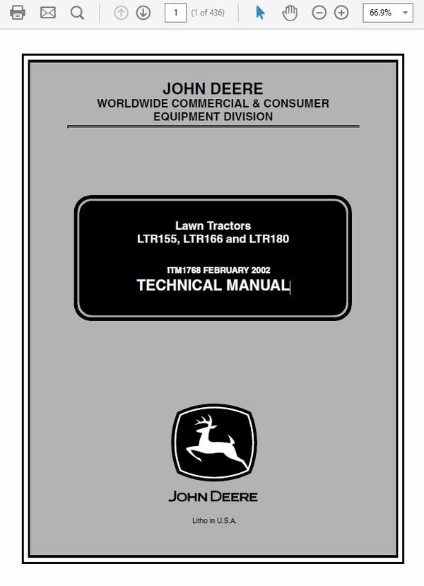 John Deere LTR155, LTR166 and LTR180 Lawn Tractors Technical Manual TM-1768