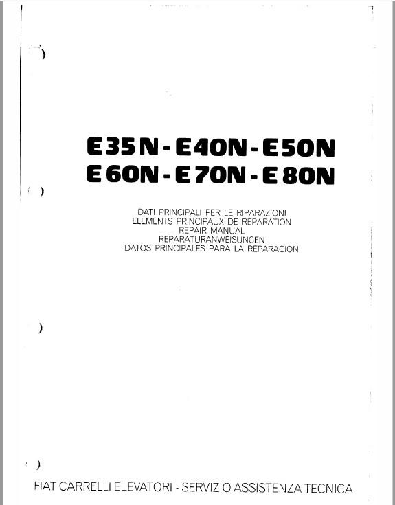 OM Pimespo E35N-E40N-E50N-E60N-E70N-E80N Forklift Repair Manual