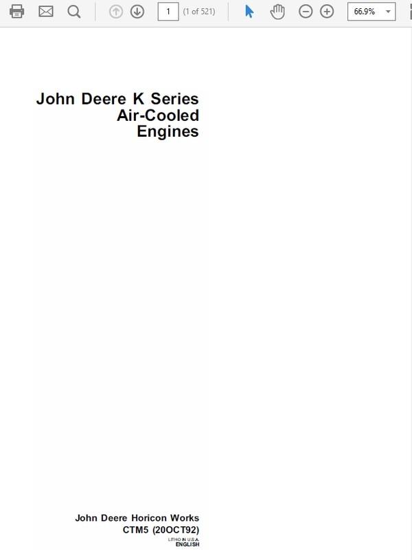 John Deere K Series Air Cooled & Liquid Cooled Engines Repair Technical Manual