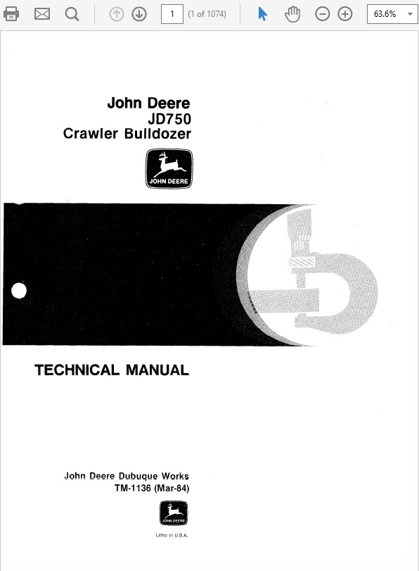 John Deere 750 Crawler Bulldozer Technical Manual TM-1136