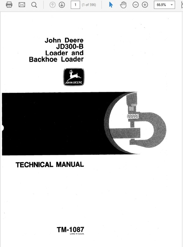 John Deere 300B Loader and Backhoe Loader Technical Manual TM-1087