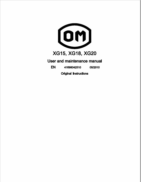 OM Pimespo XG15, XG18 and XG20 Forklift Repair Workshop Manual