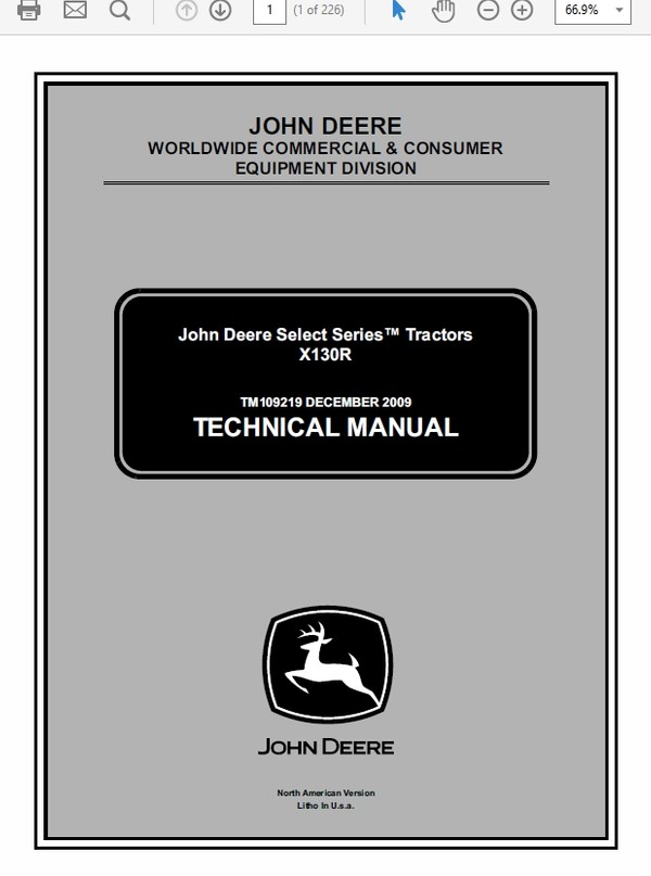 John Deere X130R Tractors Technical Manual TM-109219