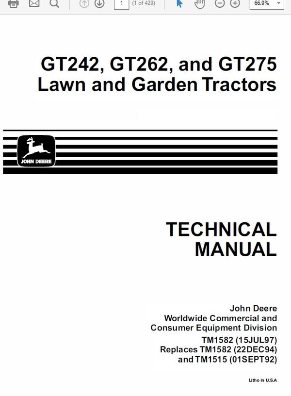 John Deere GT242, GT262, and GT275 Lawn and Garden Tractors TM-1582