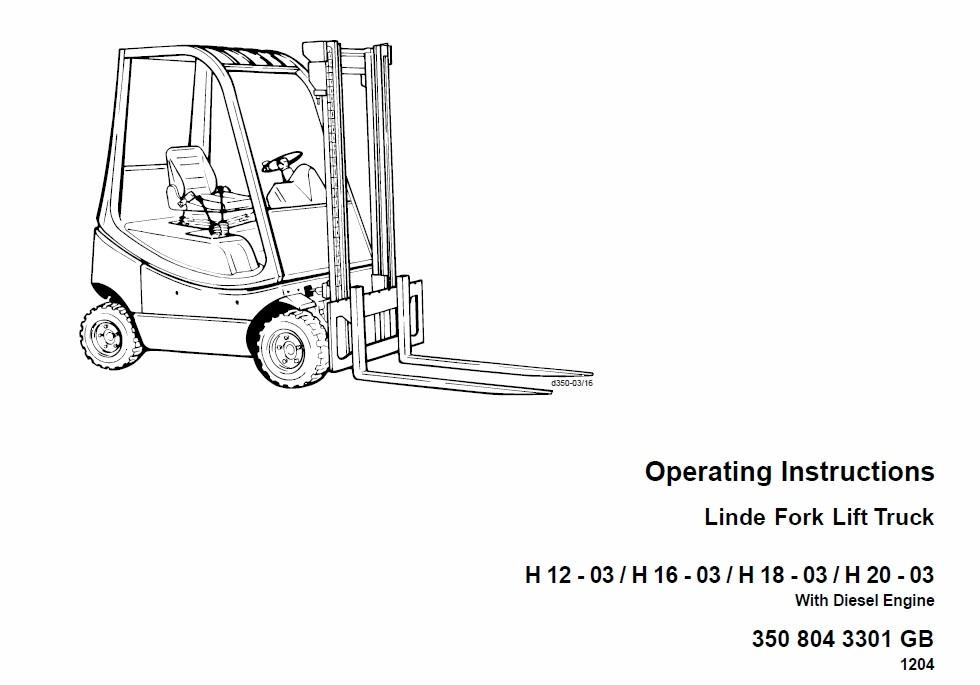 Linde LPG Forklift Truck 350 Series H12, H16, H18, H20