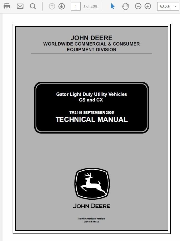 John Deere Gator Light Duty Utility Vechicles CS and CX Technical Manual TM-2119
