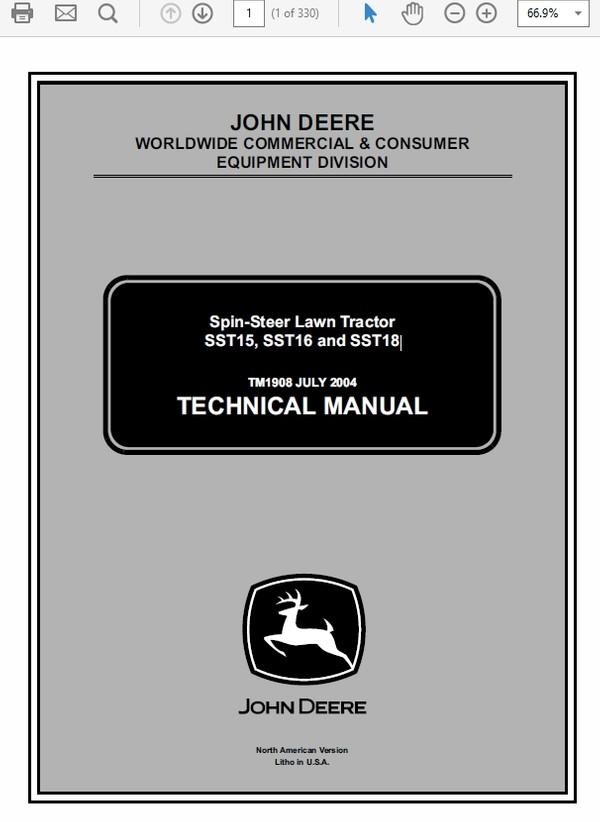 John Deere SST15, SST16 and SST18 Lawn Tractor Technical Manual TM-1908