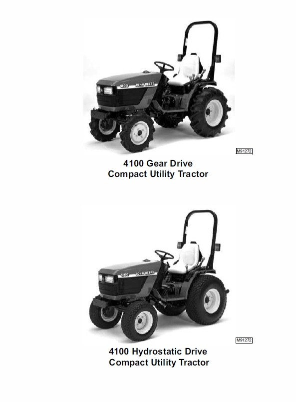 John Deere 4100 Compact Utility Tractors Technical Manual TM-1630
