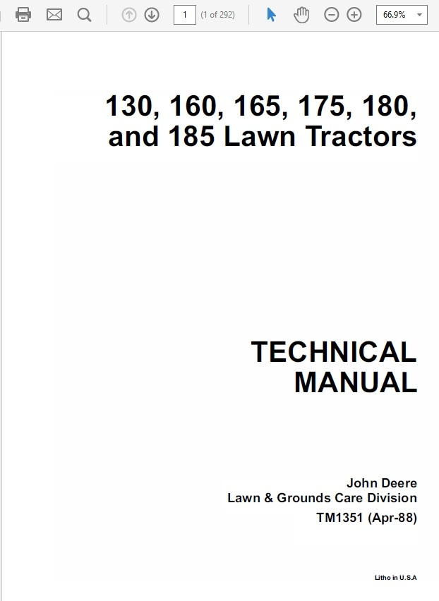 John Deere 130, 160, 165, 175, 180 and 185 Lawn Tract