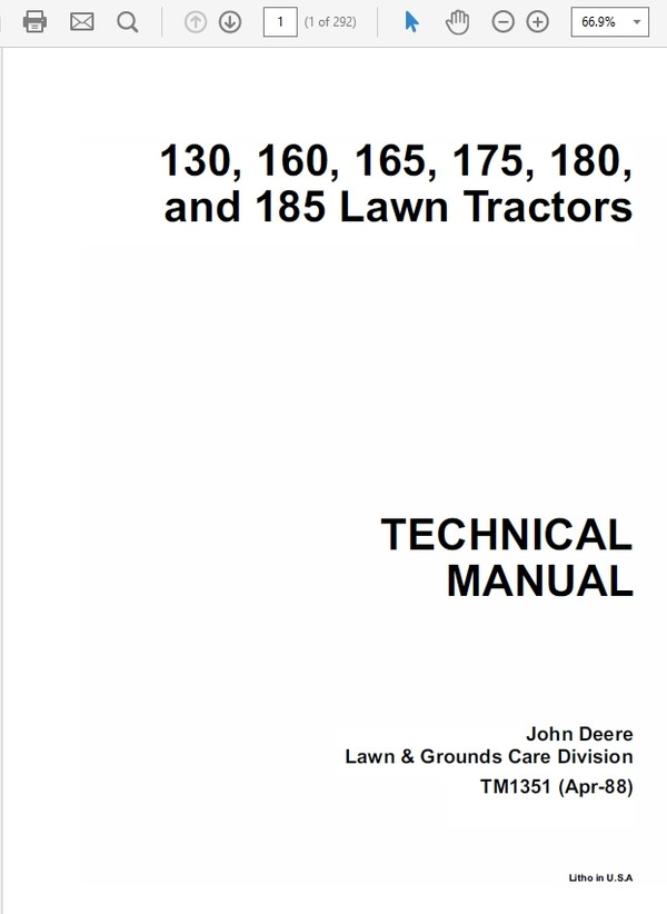 John Deere 130, 160, 165, 175, 180 and 185 Lawn Tractors Technical Manual TM-1351