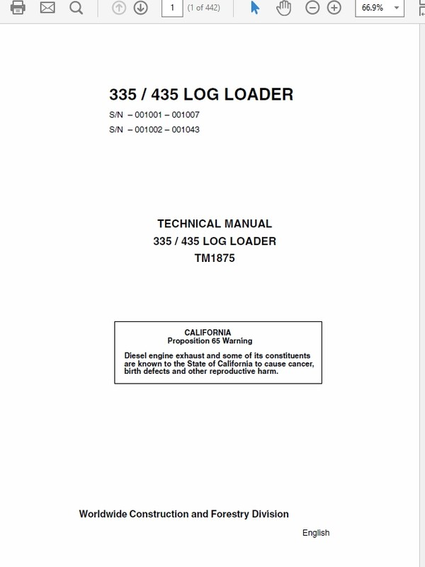 John Deere 335 435 Log Loader Technical Manual TM-1875