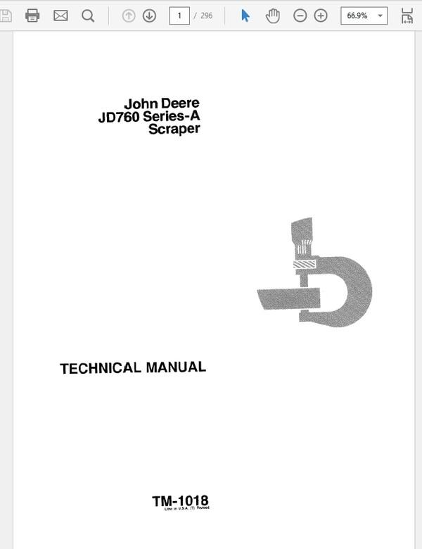John Deere 760 Series A Scraper Technical Manual TM-1018