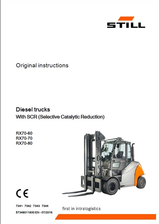 Still Electric Forklift Truck RX70-60, RX70-70, RX70-80 Repair Manual