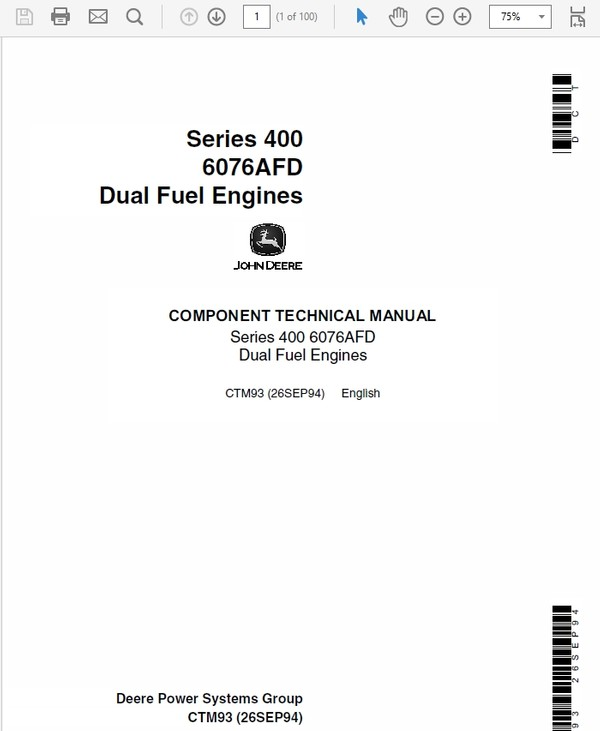 John Deere Series 400 – 6076AFD Dual Fuel Engines Service Manual CTM93