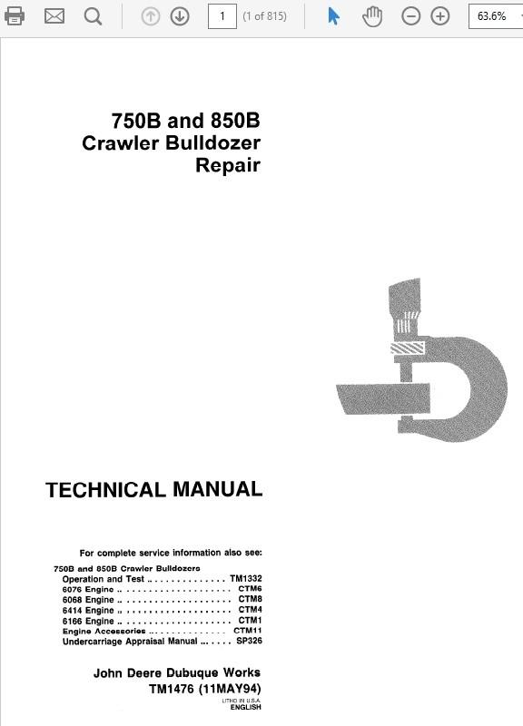 John Deere 750B and 850B Crawler Bulldozer Repair Manual TM-1476 & TM-1332