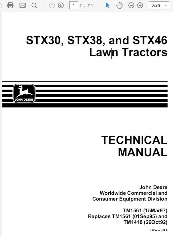 John Deere STX30, STX38, and STX46 Lawn Tractors TM-1561