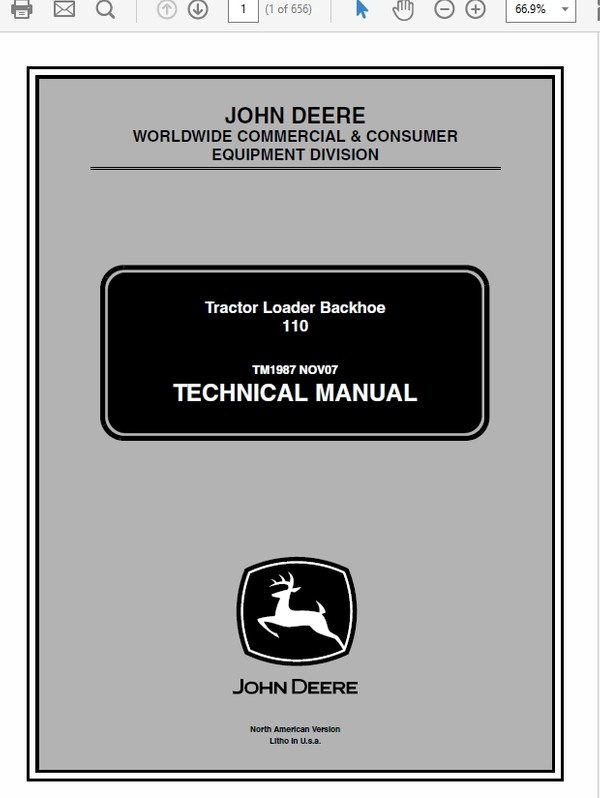 John Deere 110 Tractor Loader Backhoe Technical Manual TM-1987