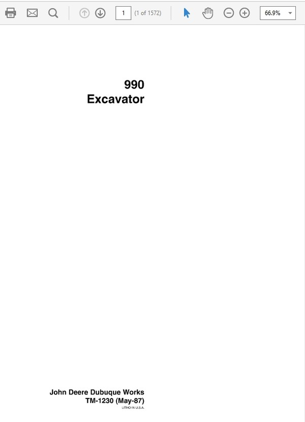 John Deere 990 Excavator Technical Manual TM-1230