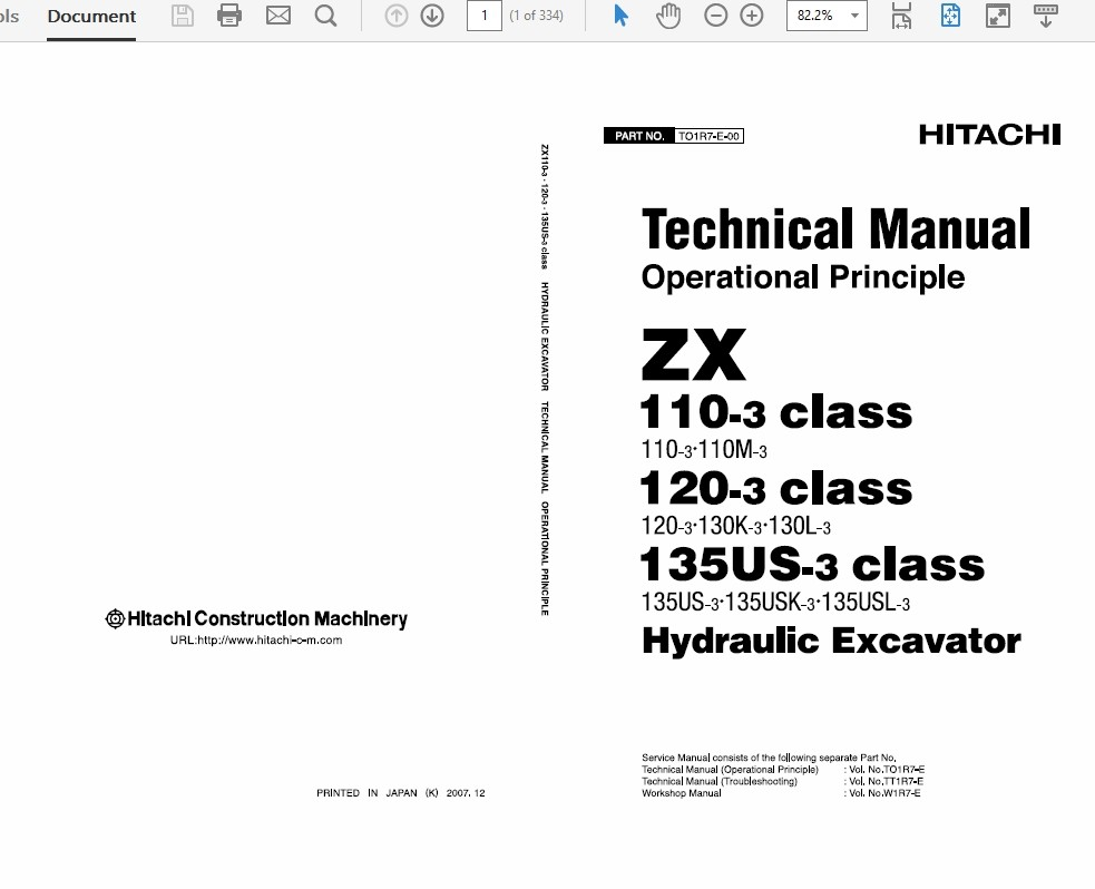 Hitachi Hydraulic Excavator Technical Workshop Manual