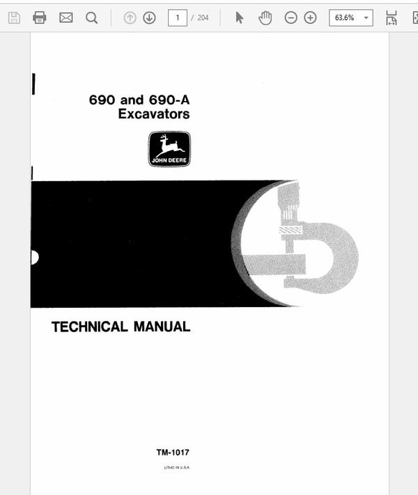 John Deere 690 and 690A Excavator Technical Manual TM-1017