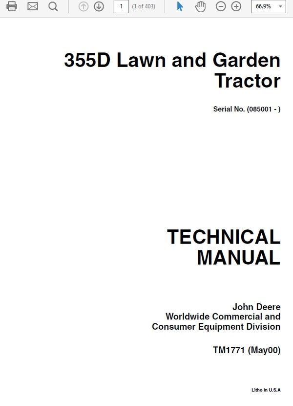John Deere 355D Lawn and Garden Tractor Technical Manual TM-1771