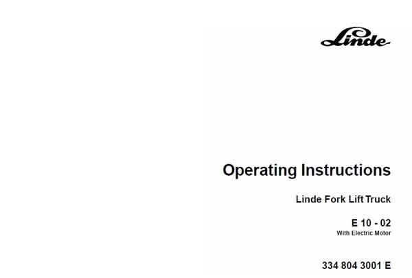 Linde Electric Forklift Truck Type 334 E10-02 Workshop Manual